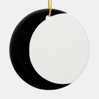 Crescent Moon Double-Sided Ceramic Round Christmas Ornament