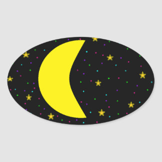 Crescent Moon Oval Sticker