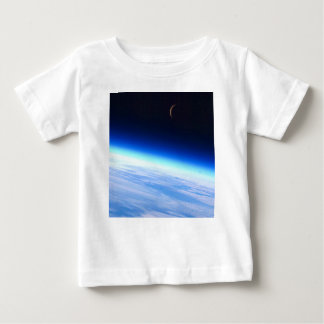 Crescent Moon Over A Bright Blue Glowing Earth Baby T-Shirt