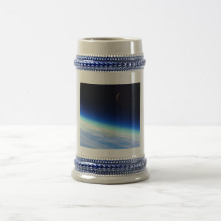 Crescent Moon Over A Bright Blue Glowing Earth Beer Stein