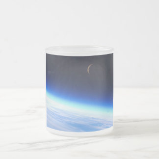 Crescent Moon Over A Bright Blue Glowing Earth Frosted Glass Coffee Mug