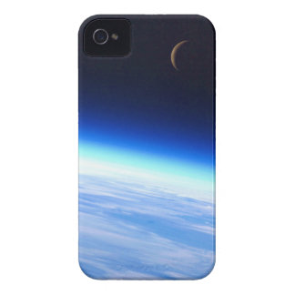 Crescent Moon Over A Bright Blue Glowing Earth iPhone 4 Case