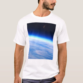 Crescent Moon Over A Bright Blue Glowing Earth T-Shirt