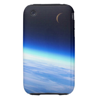 Crescent Moon Over A Bright Blue Glowing Earth Tough iPhone 3 Cover