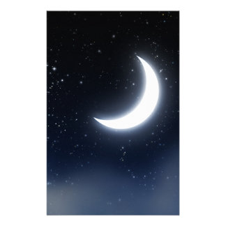 Crescent Moon over Starry Sky2 Stationery