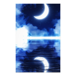 Crescent Moon over Starry Sky Stationery
