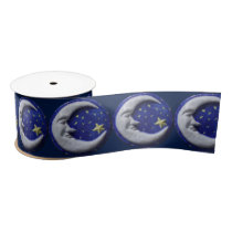 Crescent Moon Pattern Satin Ribbon