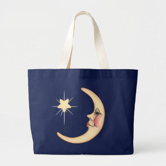 CRESCENT MOON & STAR by SHARON SHARPE Large Tote Bag