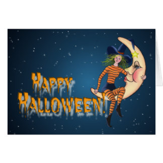 CRESCENT MOON & WITCH by SHARON SHARPE Greeting Card