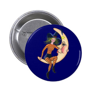 CRESCENT MOON & WITCH by SHARON SHARPE Pinback Button