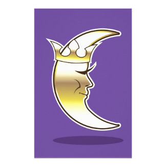 Crescent Moon with a Crown vector Stationery