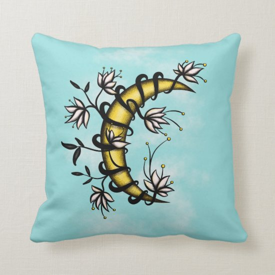 Crescent Moon Wrapped In Flowers Tattoo Style Throw Pillow