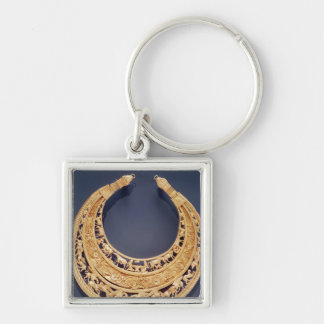 Crescent shaped pectoral from Tolstaya Mogila Silver-Colored Square Keychain