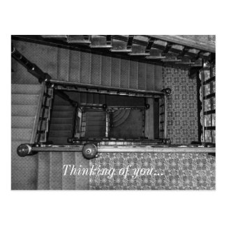 Crescent Stairwell Grayscale Postcard