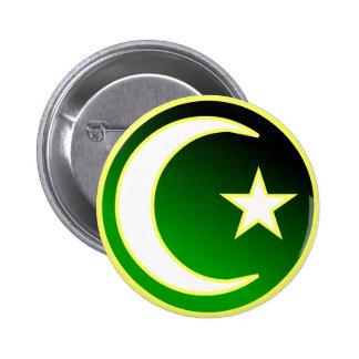 Crescent  & Star of Islam Button