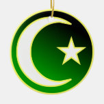 Crescent  & Star of Islam Double-Sided Ceramic Round Christmas Ornament