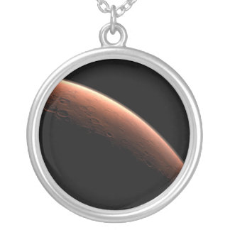 Crescent Sunrise on Mars the Red Planet Silver Plated Necklace
