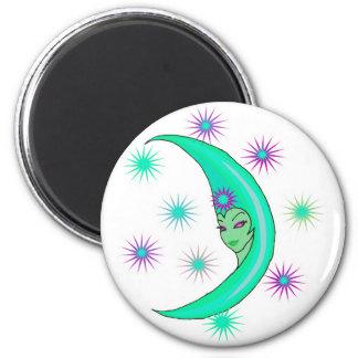 cresent moon goddess 2 inch round magnet