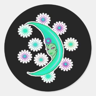 cresent moon goddess round stickers
