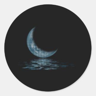 Cresent Moon Lake Dots Blue Classic Round Sticker