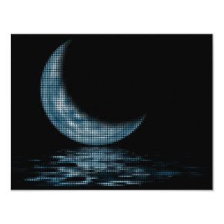 Cresent Moon Lake Dots Blue 4.25x5.5 Paper Invitation Card