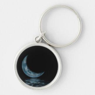 Cresent Moon Lake Dots Blue Keychain