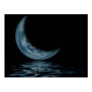 Cresent Moon Lake Dots Blue Postcard
