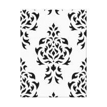Crest Damask Pattern – Black on White Canvas Print