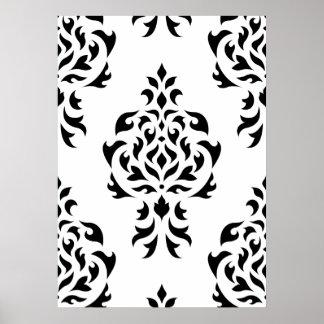 Crest Damask Pattern – Black on White Print