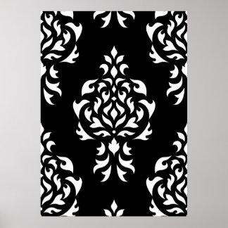 Crest Damask Pattern – White on Black Print