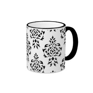 Crest Damask Repeat Pattern – Black on White Coffee Mugs