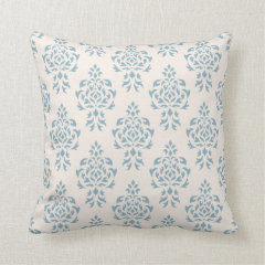 Crest Damask Repeat Pattern – Blue on Cream Throw Pillows