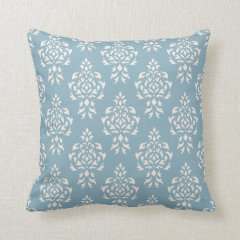 Crest Damask Repeat Pattern – Cream on Blue Pillows