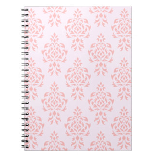 Crest Damask Repeat Pattern Pinks Spiral Notebook