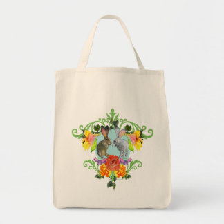 Crest of Rabbits & Flowers Grocery Tote Bag