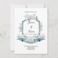 Crest Swan Wedding Invitation