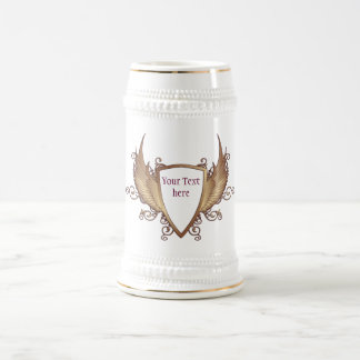 CREST with WINGS + Your Text 18 Oz Beer Stein