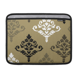 Cresta Damask Art I Black White Bronzes Gold MacBook Air Sleeve