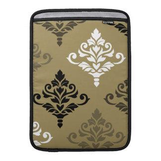 Cresta Damask Art I Black White Bronzes Gold Sleeves For MacBook Air
