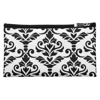 Cresta Damask Big Pattern Black on White Cosmetic Bag