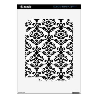 Cresta Damask Big Pattern Black on White Decal For iPad 3