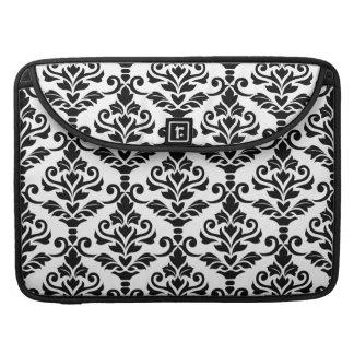 Cresta Damask Big Pattern Black on White MacBook Pro Sleeve