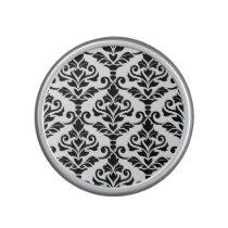 Cresta Damask Large Pattern Black on White Speaker