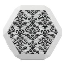 Cresta Damask Large Pattern Black on White White Bluetooth Speaker