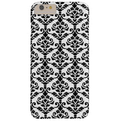 Cresta Damask Pattern Black on White Barely There iPhone 6 Plus Case