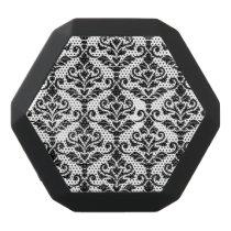 Cresta Damask Pattern Black on White Black Bluetooth Speaker