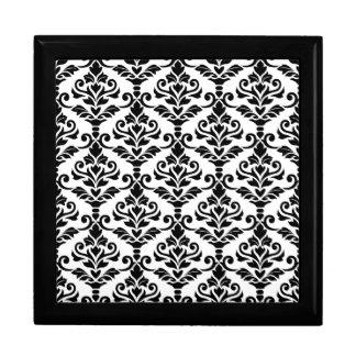 Cresta Damask Pattern Black on White Gift Box