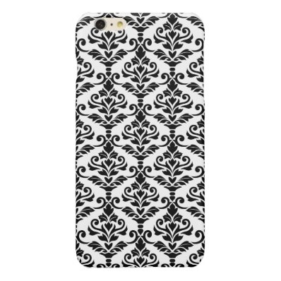 Cresta Damask Pattern Black on White Glossy iPhone 6 Plus Case
