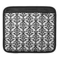 Cresta Damask Pattern Black on White iPad Sleeve