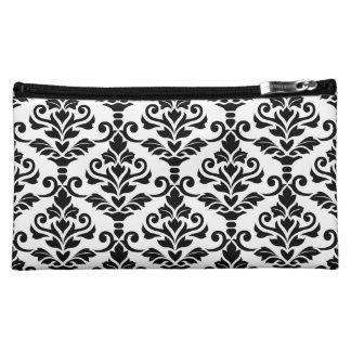 Cresta Damask Pattern Black on White Makeup Bag